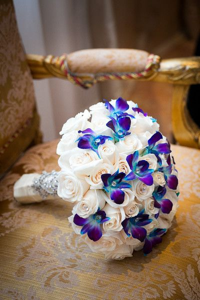 Glam Purple And White Wedding Bouquet Roses Blue Orchids Joshua