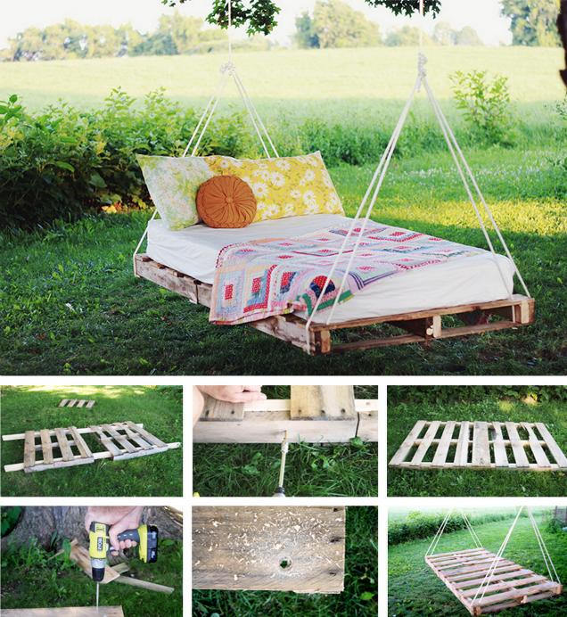 Hängebett selber bauen: 44 DIY Ideen für Bett aus Paletten im ...