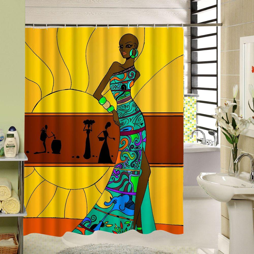 African Shower Curtain Woman Bathroom Liner Polyester 3d Bathroom