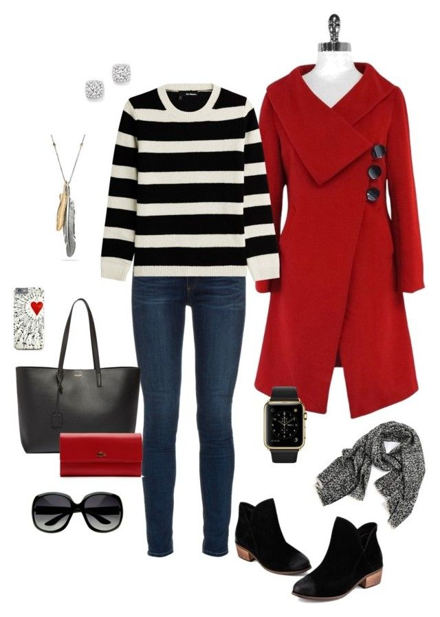 """Red Coat and Stripes"" by kimzakaryan on Polyvore featuring Marc Jacobs, rag & bone, The Kooples, Yves Saint Laurent, Lacoste, Bloomingdale's and Coach"