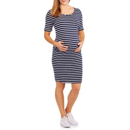 cd826388163 Oh! Mamma Maternity Short Sleeve Striped Dress with Side Rushing ...