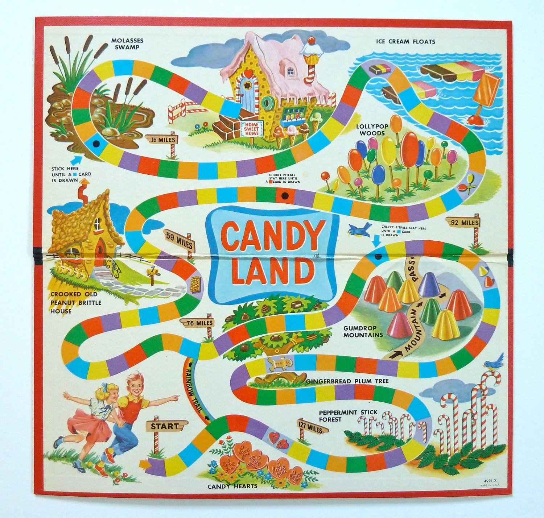 1960 S Vintage Candy Land Game Etsy Candyland Board Game Vintage Board Games Candyland