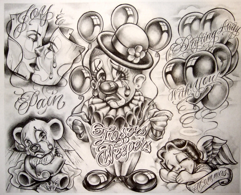 Gangster Tattoo Flash | Boog Cartoon Gangster Chicano Tattoo Mister ...