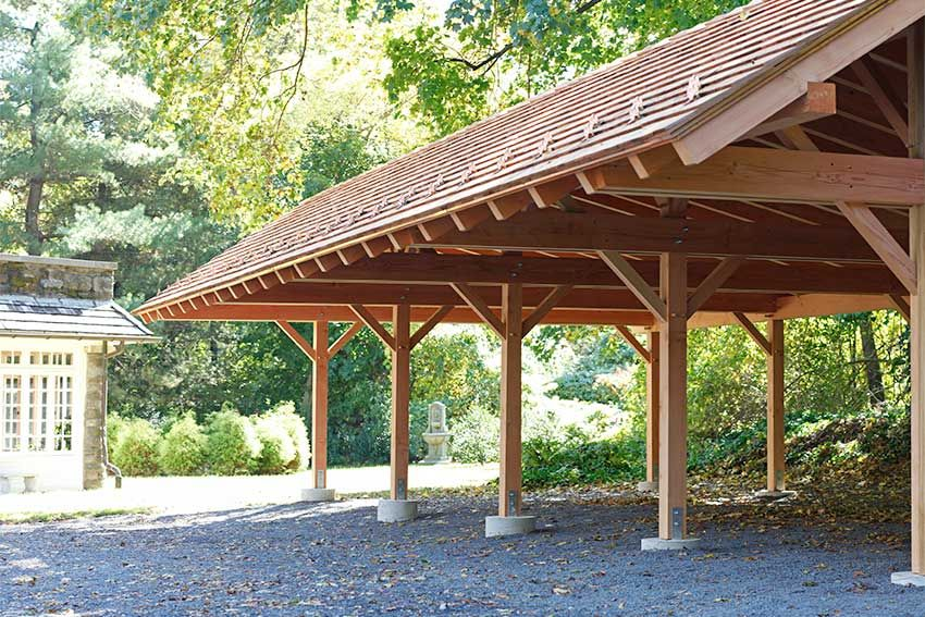 a timber frame structure to protect your equipment garden