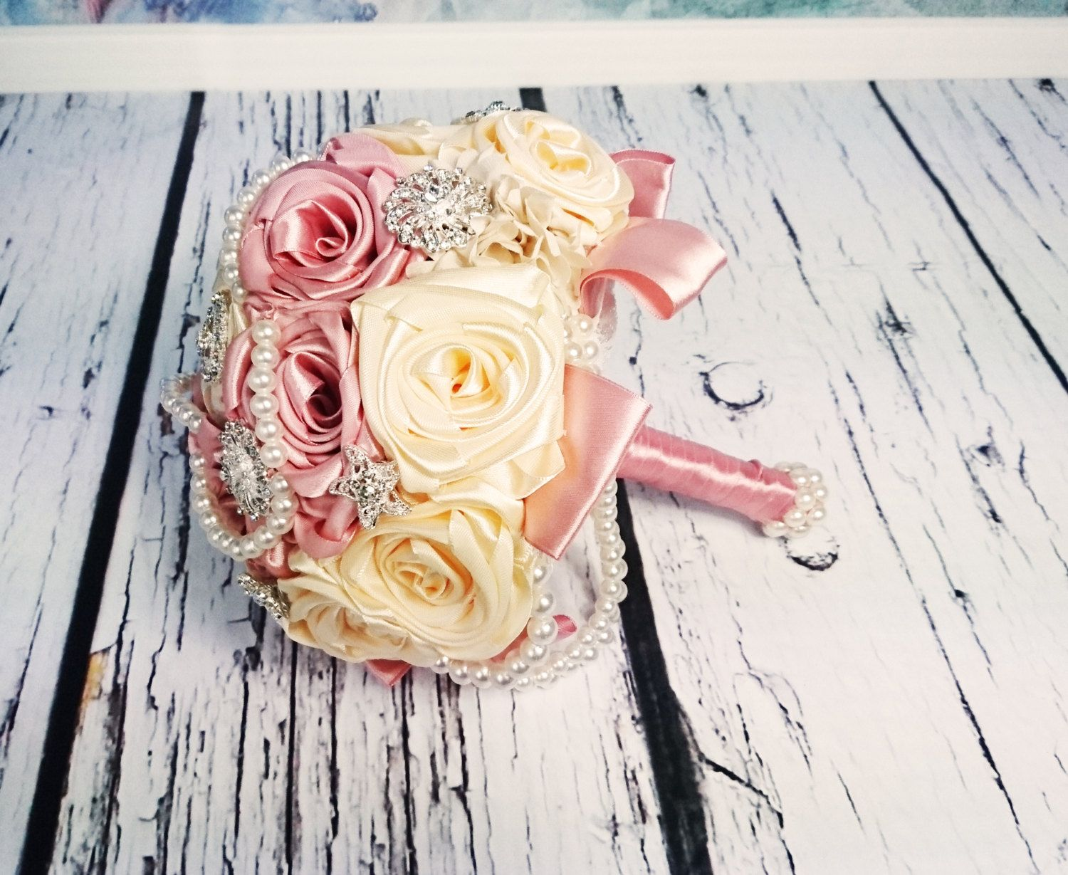 READY to SHIP Satin ribbon flowers wedding BOUQUET dusky pink ivory ...