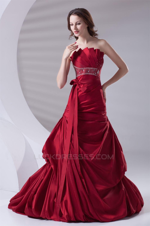 Aline pleated sleeveless satin beading promformal evening dresses