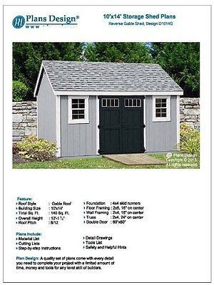 Utility Garden Shed Plans 10 X 14 Reverse Gable Roof Style Material List Incl Building A Storage Shed Shed Plans Shed