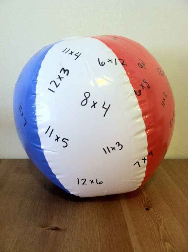 Turn a beach ball into a math question ball. Wherever their thumb lands that is the problem they solve before tossing to next person. Can do sight words or exam questions
