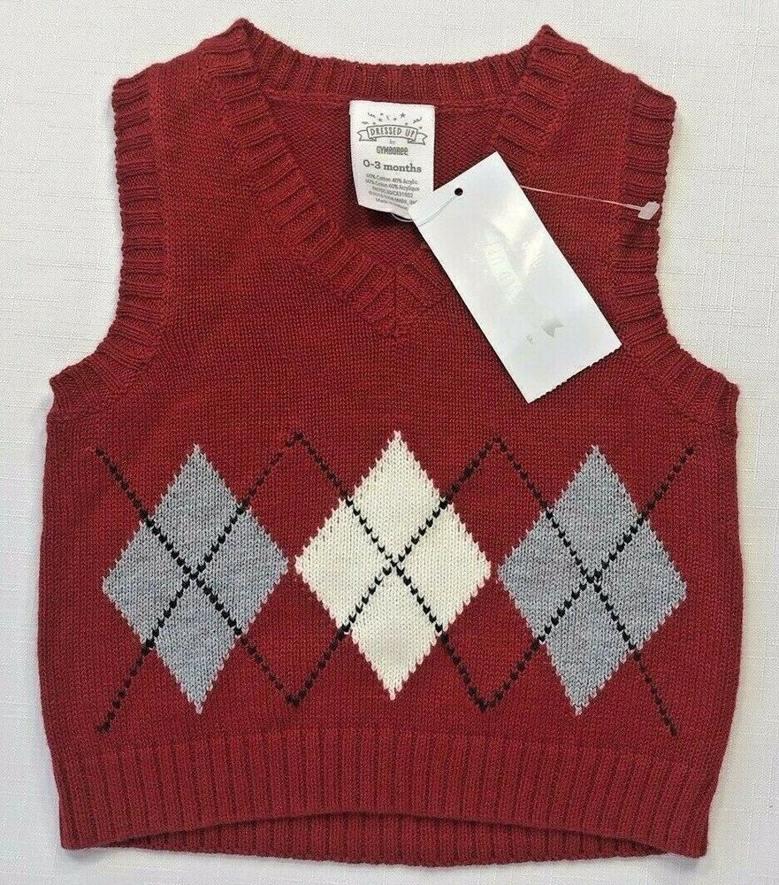 NWT Dressed Up by Gymboree Boys 0-3 Months Argyle Holiday ...