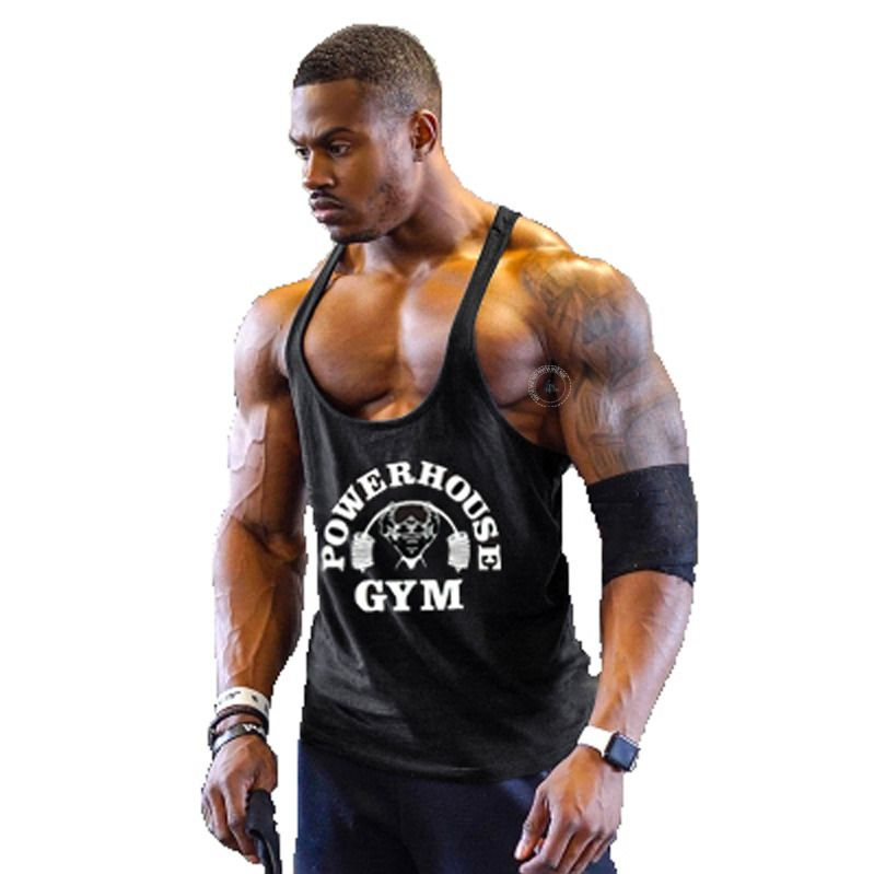 70f718891cf6c Powerhouse Gym Vest Fitness Bodybuilding Stringer Tank Top Muscle Training  Shirt