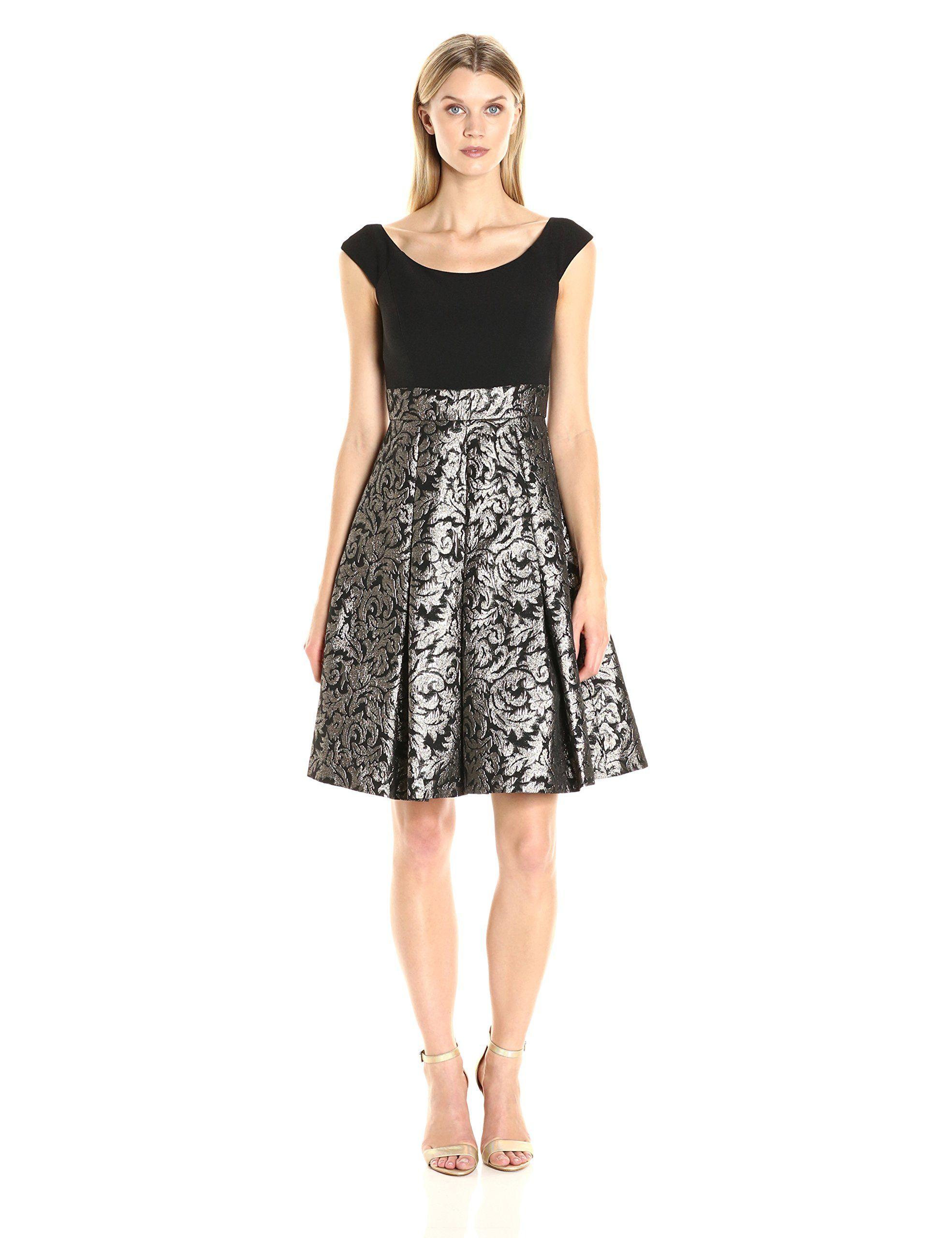 Eliza J Women's Cap Sleeve Fit and Flare Dress, Black/Gold, 14 ...