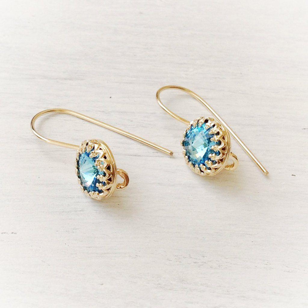Aquamarine Earrings Blue swarovski crystal 14k gold filled jewelry