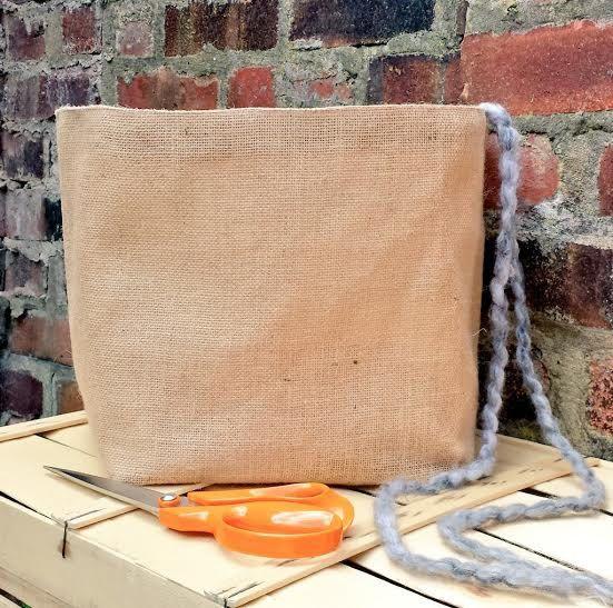 LARGE KNITTING BAG Jute Hessian Burlap by KnittingBagAndCase