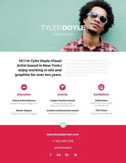 Established Visual Artist Resume Resume Design Pinterest