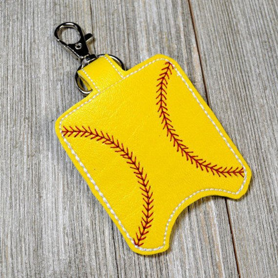 Softball Hand Sanitizer Holder Sports Bag Tag Sanitizer Key Fob