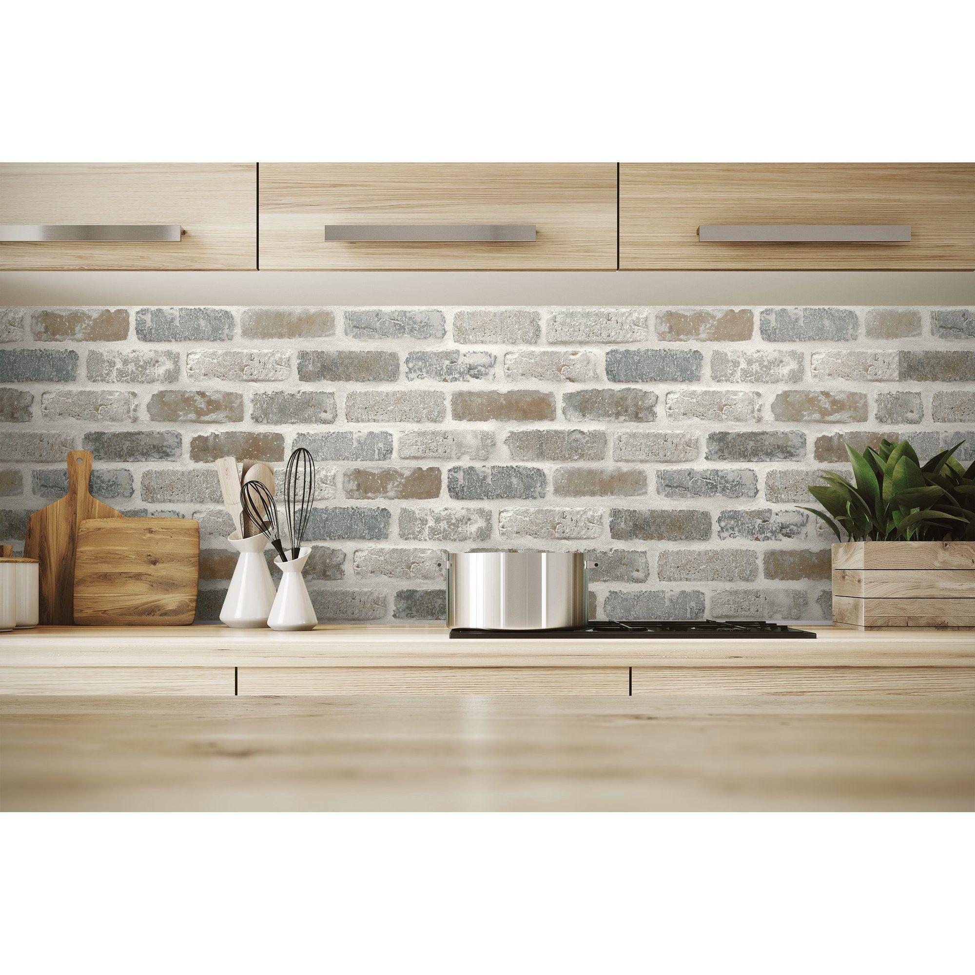Washed Faux Brick Wallpaper Peel Stick Gw1003 White Gray Brown Walmart Com Faux Brick Faux Brick Backsplash Brick Kitchen