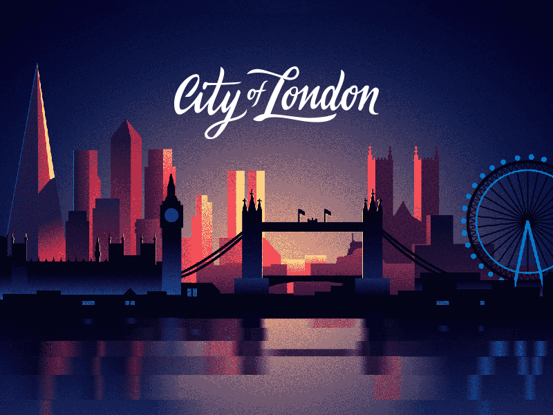 City Of London Dawn Dusk Sunset Night Big Ben Tower Bridge Dithering Limited Colors Cityscape London Illustration London Illustration Landscape Poster Redesign