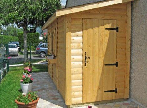 Abri de jardin ossature bois BRUYERES 1.50x4.00M - Cerisier : abris ...