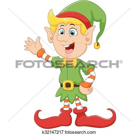 Happy green elf waving View Large Clip Art Graphic | Christmas ...