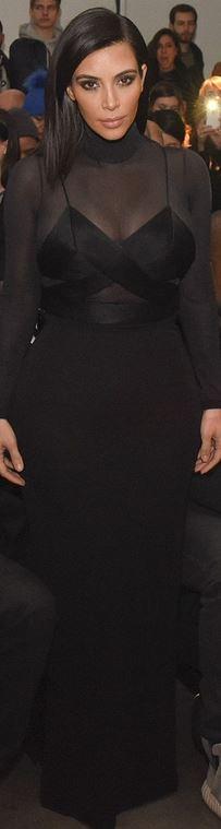 Kim Kardashian's black mesh long sleeve top, cut out top, sandals, and maxi skirt?
