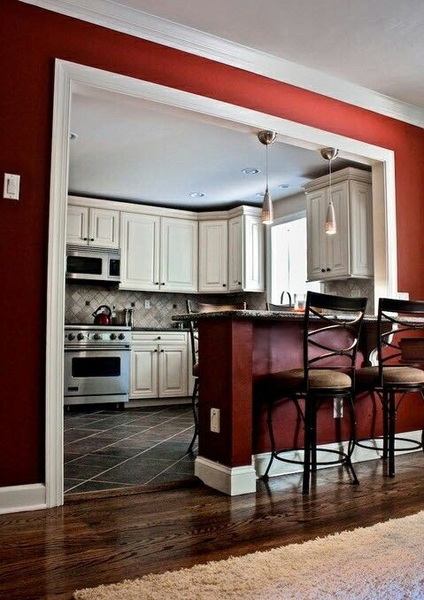 Breakfast Bar To Separate Kitchen And Living Room And Awesome Wall Color Half Wall Kitchen Home Home Remodeling