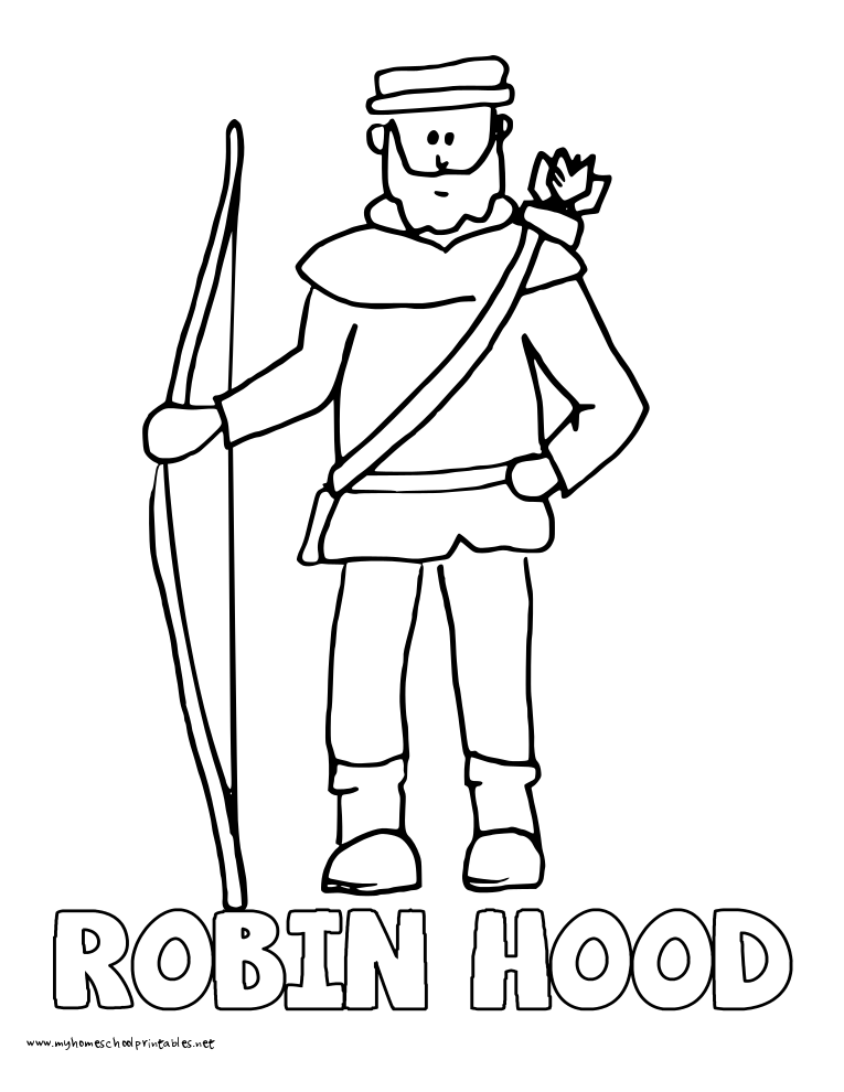 world history coloring pages printables robin hood robert - Robin Hood Coloring Pages