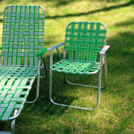 Vintage Webbed Lawn Beach Chair Folding Aluminum Bright