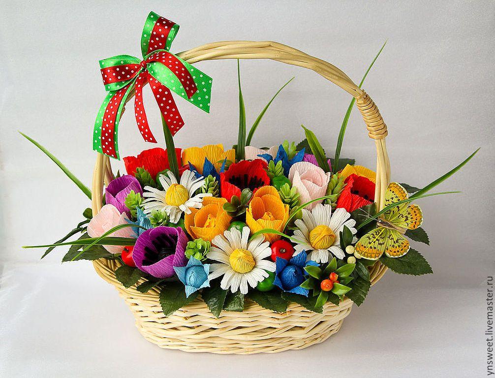 Подарки цветы в корзине своими руками из бумаги, магазин хвойных