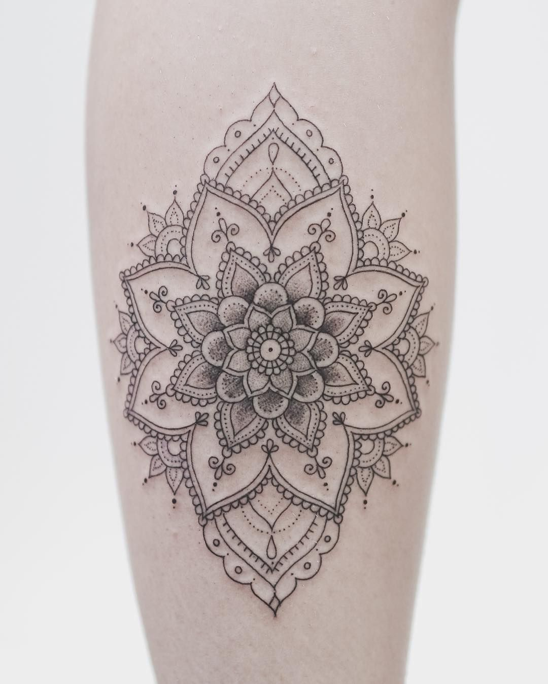 Delicate Mandala On Her Calf If You Dig Fine Lines And Dot Shading You Need To Dot Tattoos Foot Tattoos Leg Tattoos