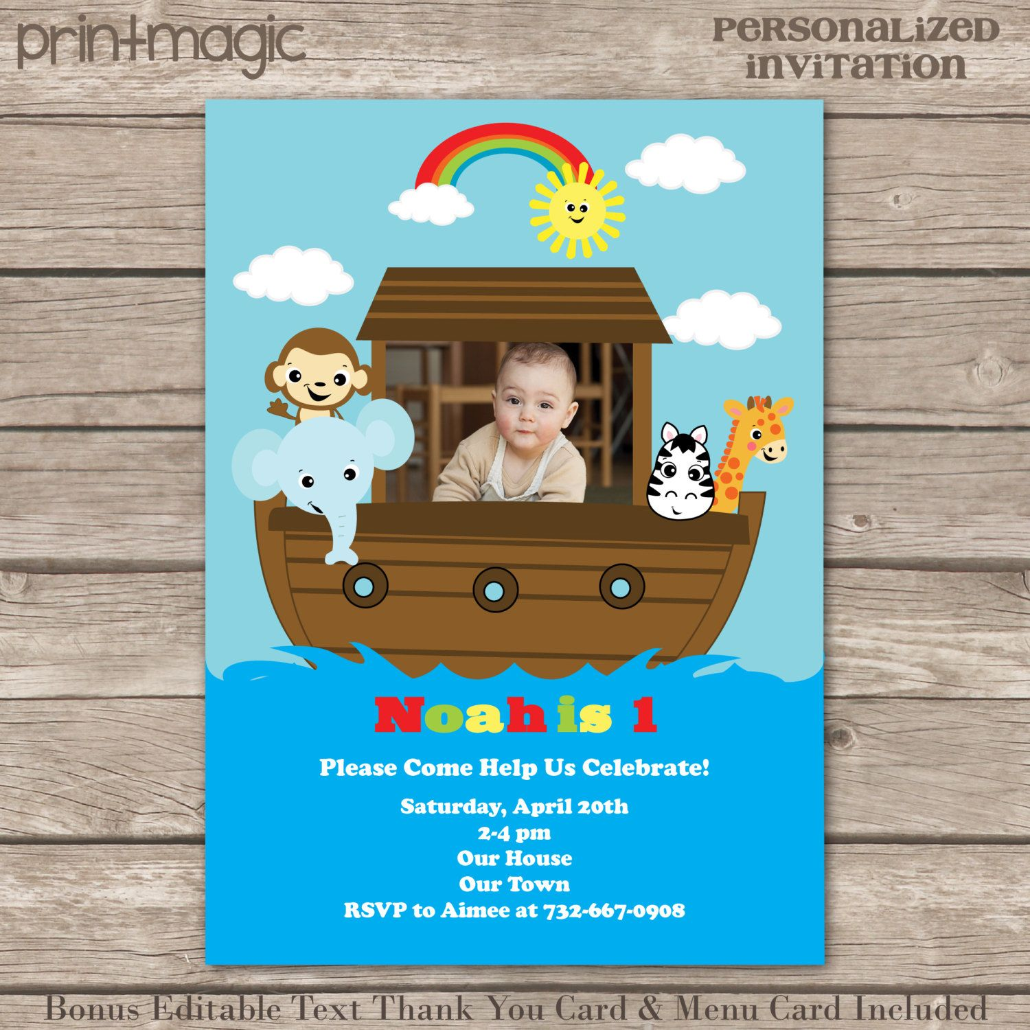 Noah s Ark Baby Shower or Birthday Personalized Printable