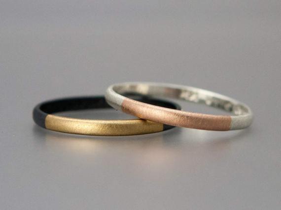 Deux ton or et argent classique bande de mariage – 2mm demi rond mariés métaux bague en 14 k or jaune ou Rose avec de largent Sterling