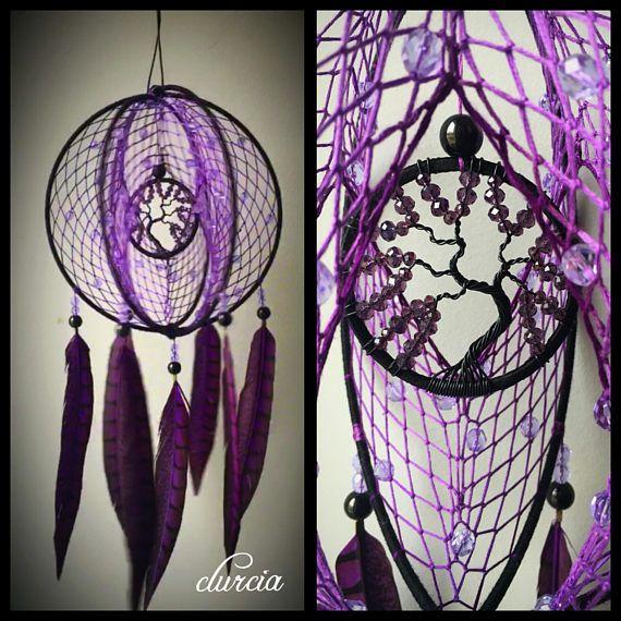 attrape r ves 3d violet et noir arbre en am thystes dream catchers dream catcher dream. Black Bedroom Furniture Sets. Home Design Ideas