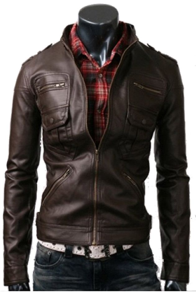 handmade Men Brown Leather Jacket six front pockets, men Brown leather  jacket, Men stylish slim six Pocket leather jacket Soooo need in my life!