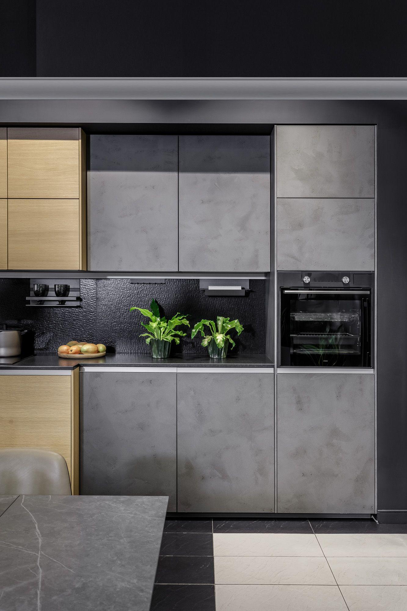 Кухня Nolte Portland | Nature. Фасады изготовлены из бетона и шпона дуба | Kitchen  Nolte