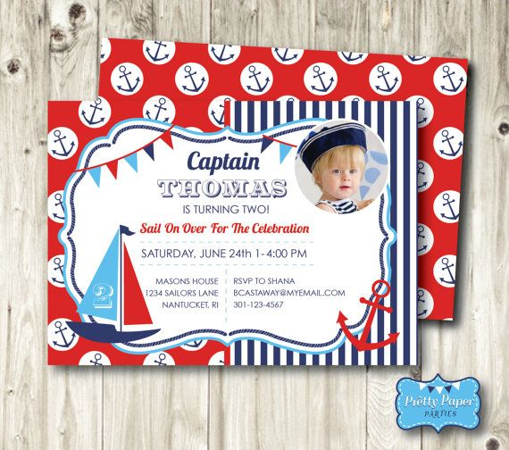 Nautical Birthday Invitation Gideon S Birthday Party Pinterest