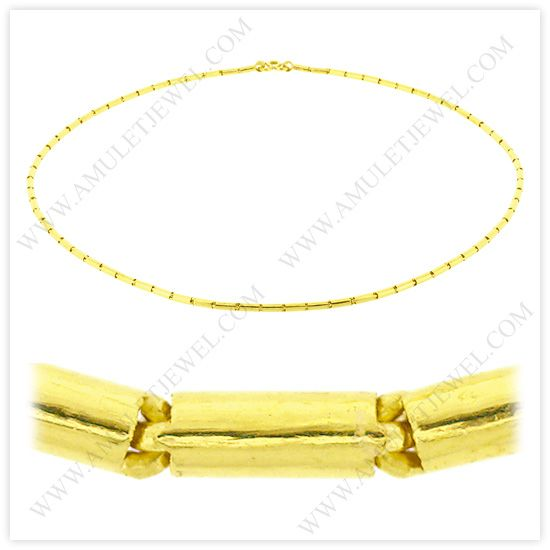 NM-0008-2BAHT - 2 Baht Polished Solid Round Barrel Chain Necklace in 23k Thai Yellow Gold - AmuletJewel.com