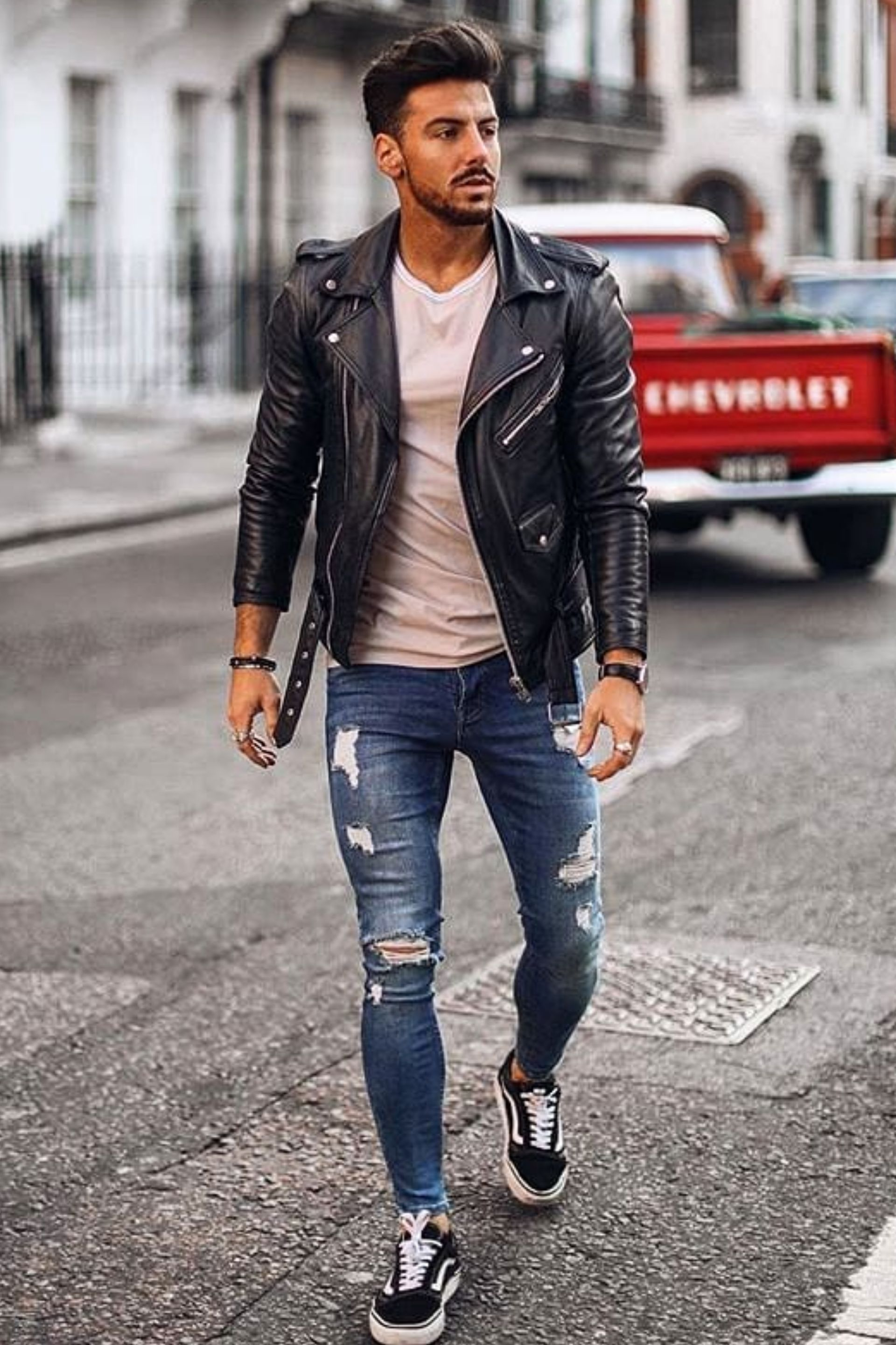 Men Street Style Leather Jacket Outfit Men Winter Outfits Men Leather Jacket Outfits [ 2880 x 1920 Pixel ]