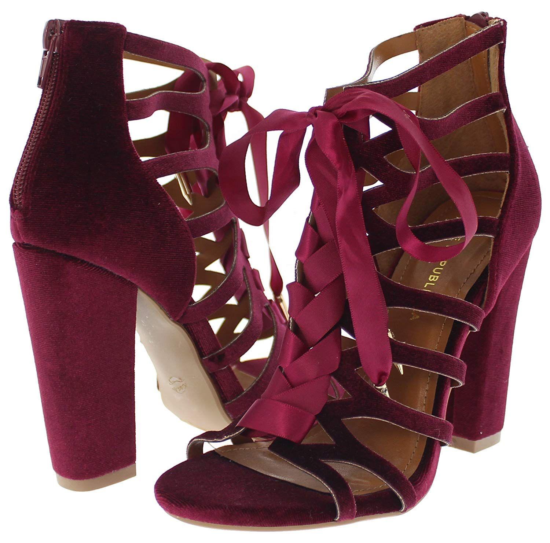 e3cca278f6b Shoe Republic LA Soft Velvet Lace Up Caged Sandal w%2FBlock Heel ...