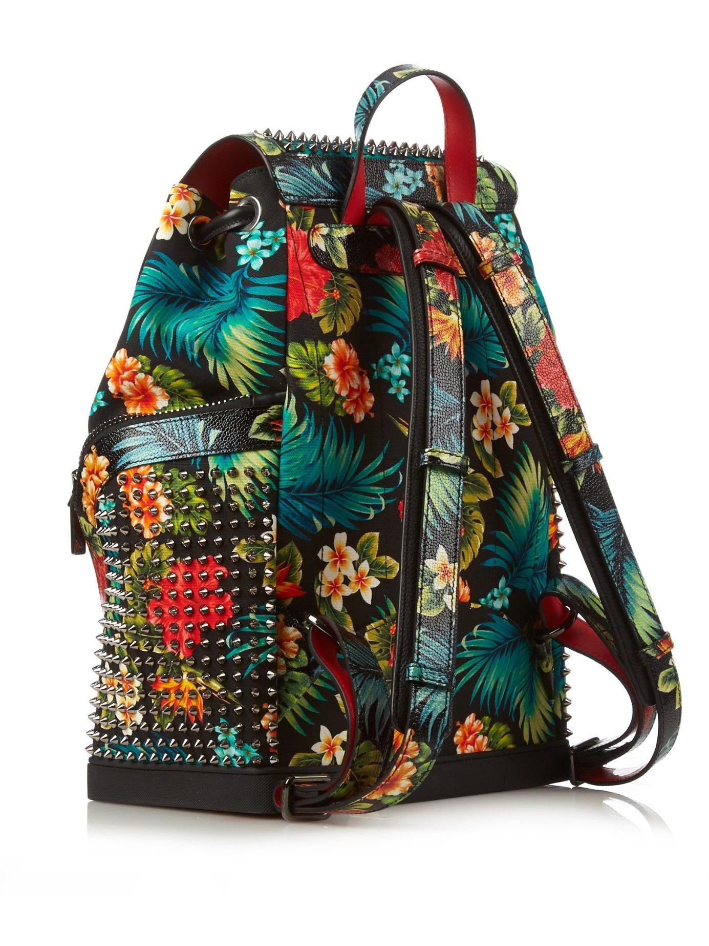 explorafunk hawaiian floral print backpack christian louboutin