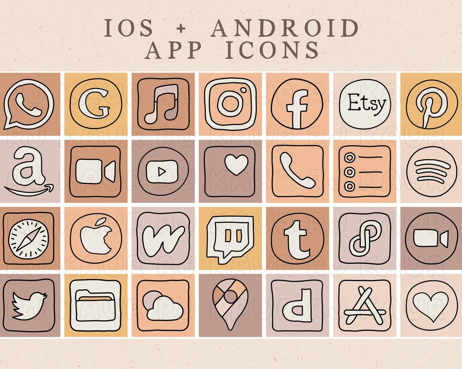 Calm Desert Doodle iOS 14 App Icons | iOS14 Widget