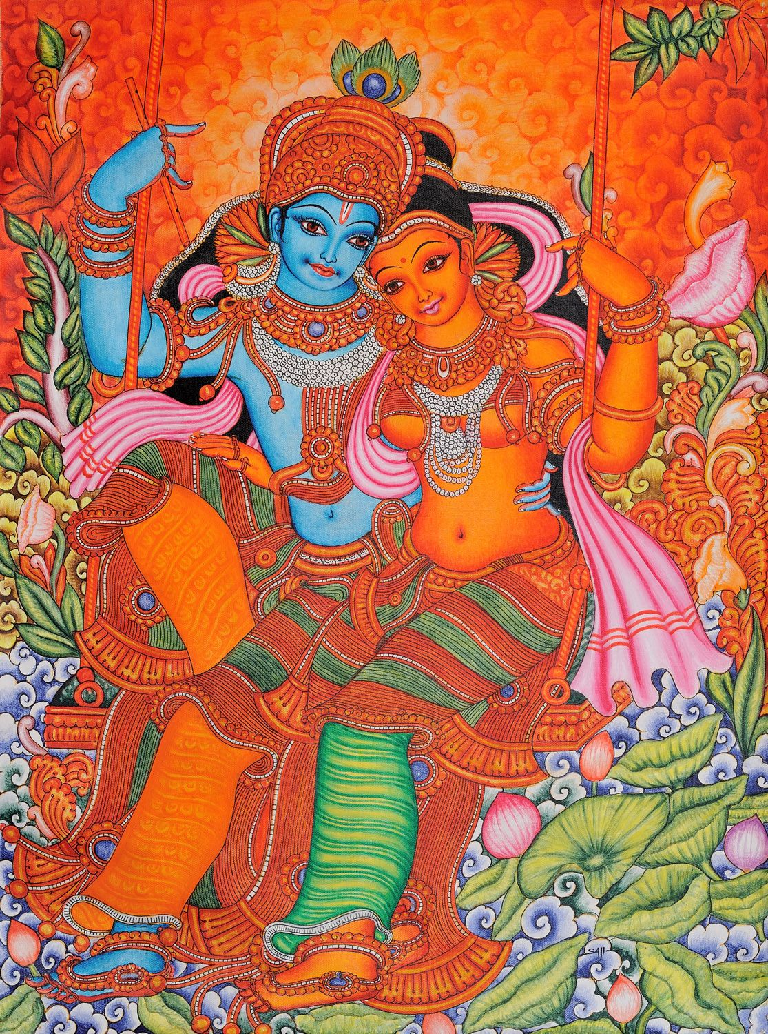 Radha and krishna on swing kerala folk style painting for Art mural painting