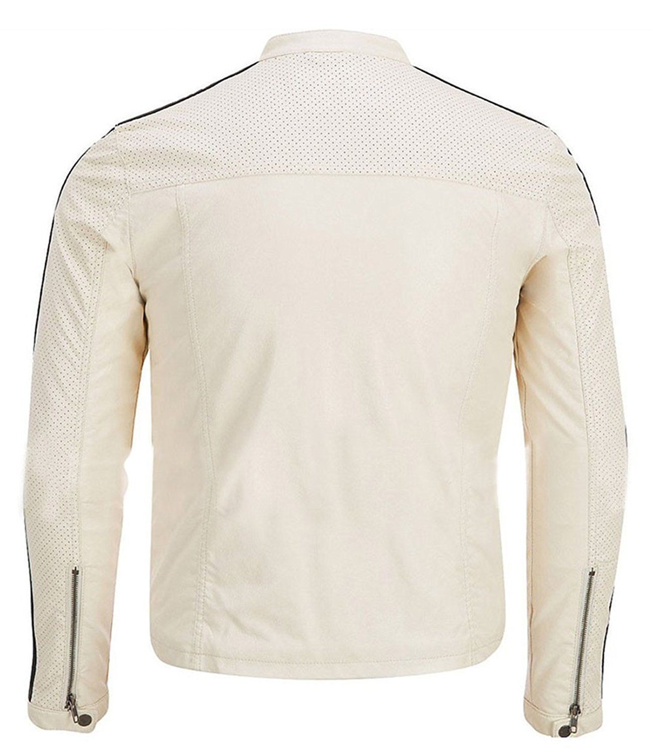 Aaron Paul Need for Speed White Synthetic Leather Jacket at Amazon Men's Clothing store: