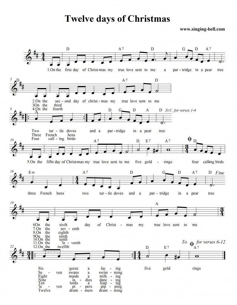 Christmas Carol Sheet Music Days of christmas song