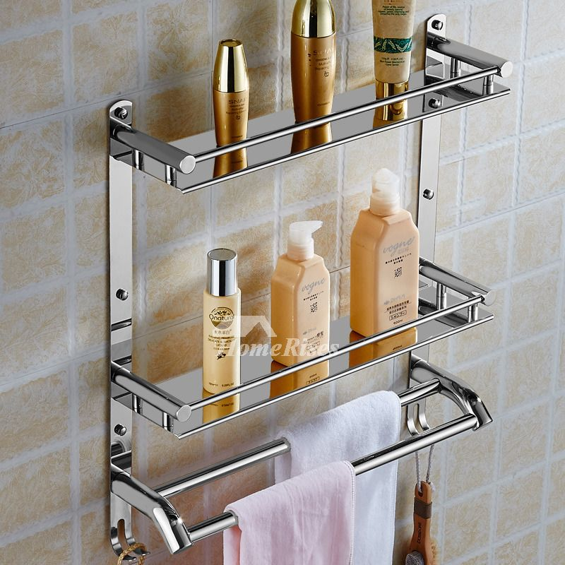 Solid Stainless Steel Bathroom Shelves 3 Layer Wall Mount