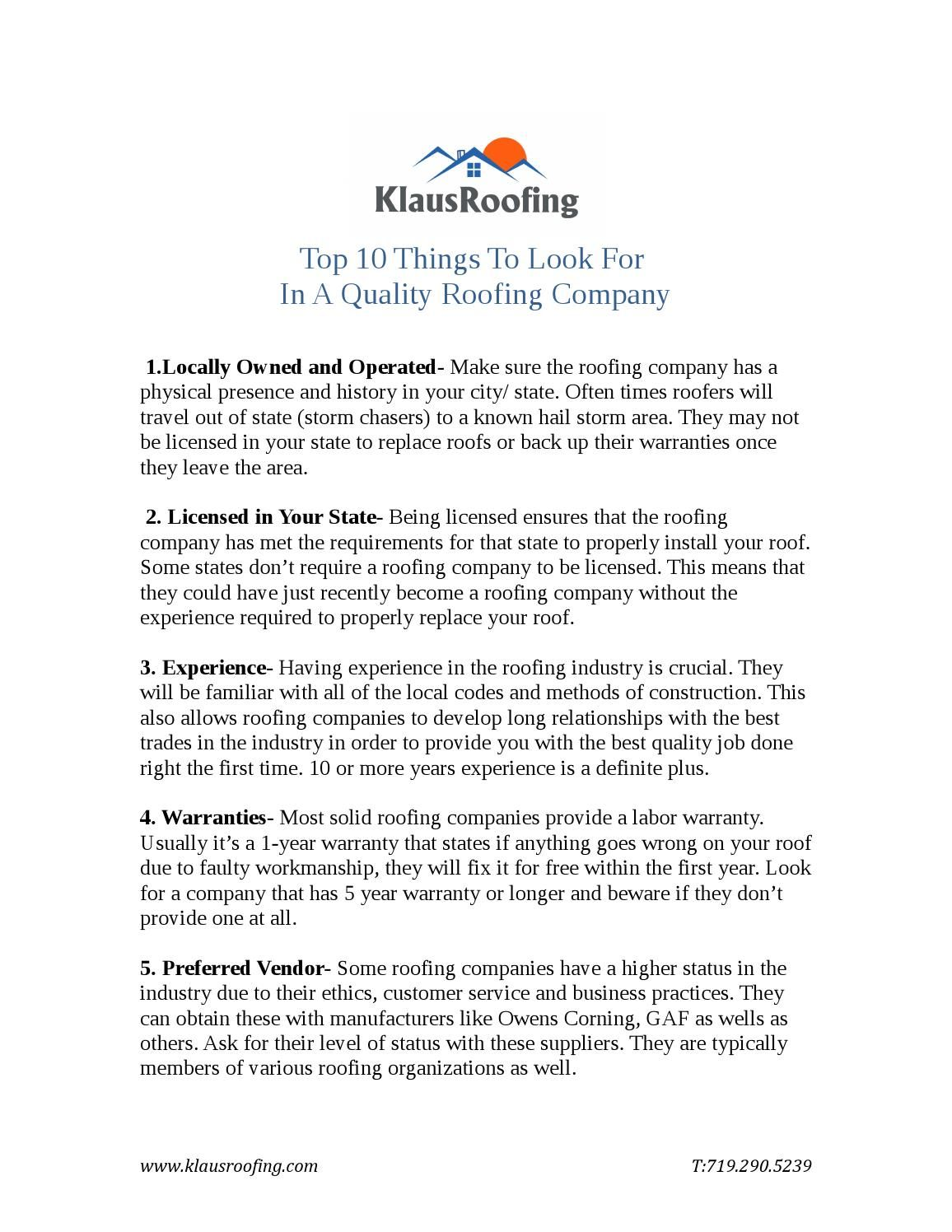 Top 10 Things To Look For In A Quality Roofing Company Roofing Best Roofing Company Roofing Companies