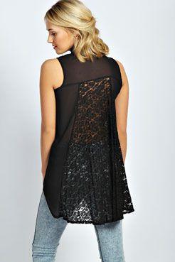 Aimee Sleeveless Lace Back Shirt