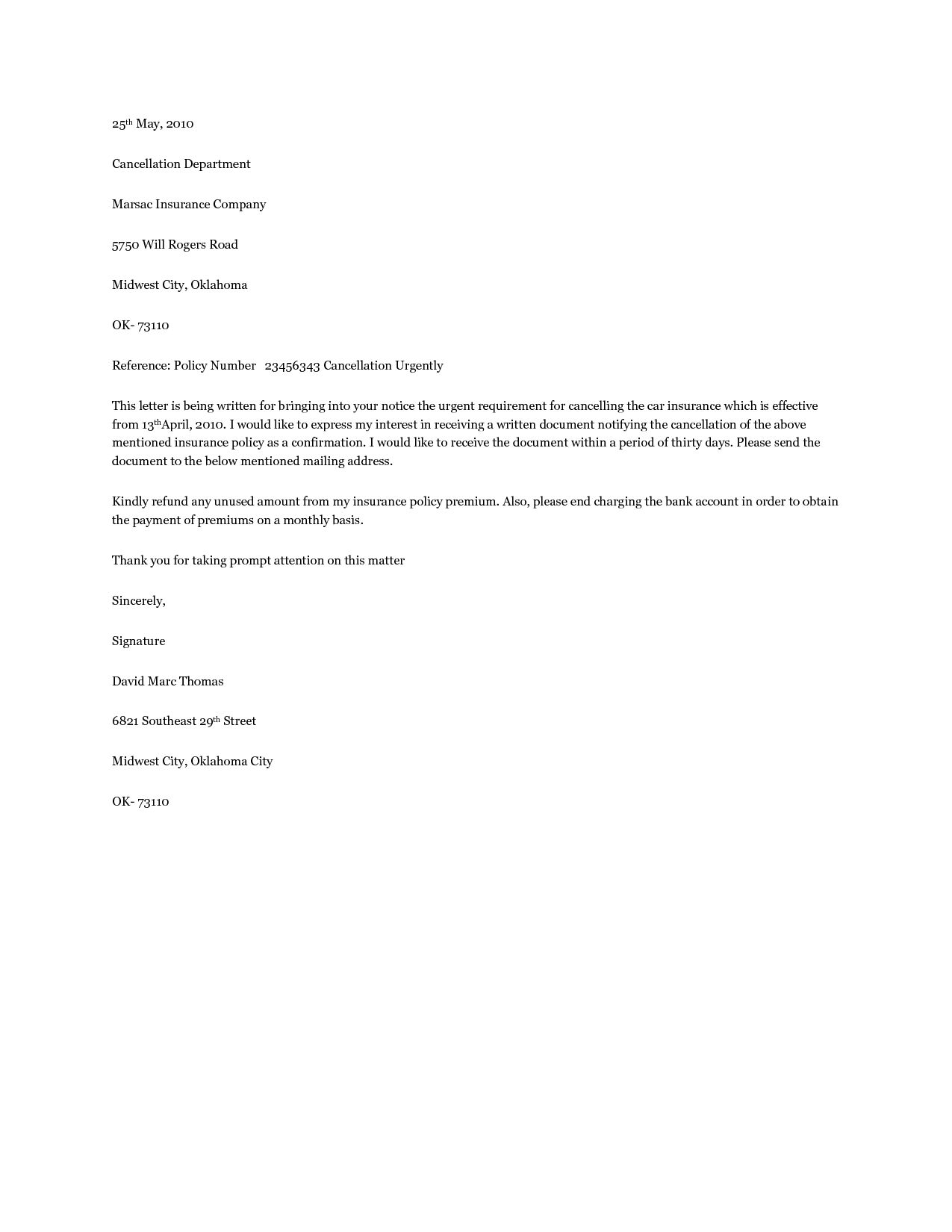 Home Insurance Cancellation Letter Best Template Design Images
