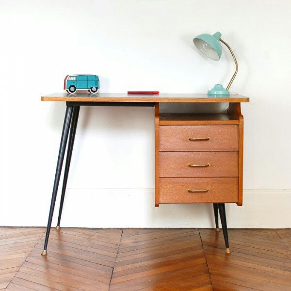 bureau ann es 50 pieds compas plateau en stratifi la s lection vintage. Black Bedroom Furniture Sets. Home Design Ideas