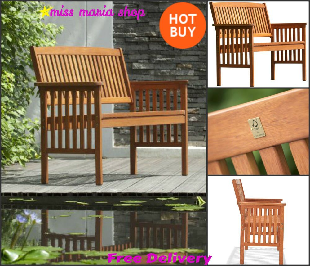 Wooden Garden Bench 2 Seat Patio Furniture Seater Outdoor Pre ...