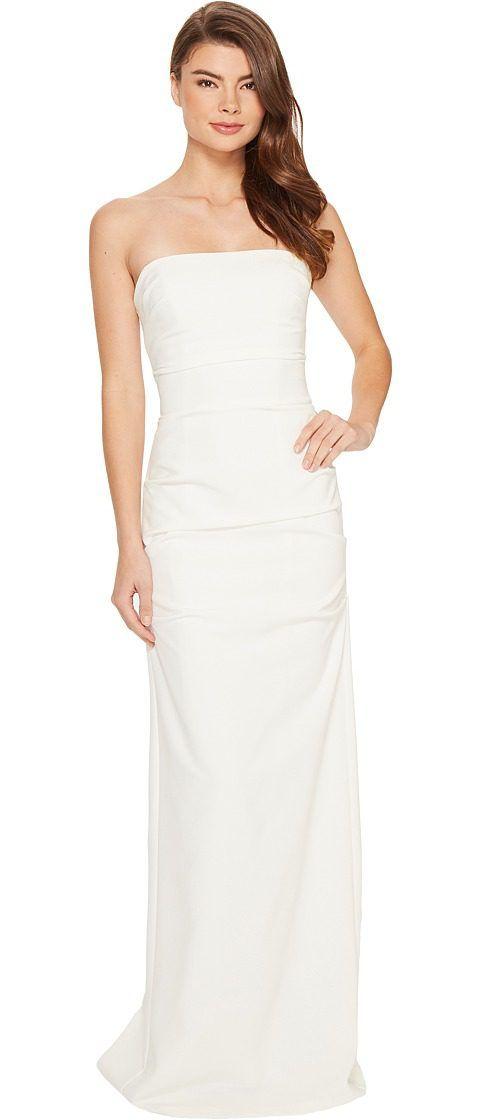 Nicole Miller Felix Techy Crepe Strapless Gown (White) Women\'s Dress ...
